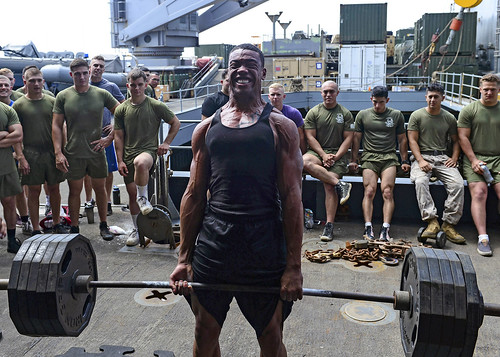 Seaman performs a deadlift during a power lifting competition.