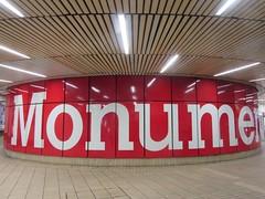 Monument Metro Station Newcastle upon Tyne (LookaroundAnne) Tags: publictransport metro station newcastle newcastleupontyne rail word text red