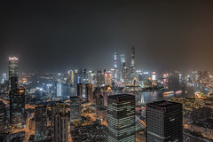 Nightscape of Shanghai city (HIKARU Pan) Tags: 1dx 24l asia canonef24mmf14liiusm china chinese eos1dx huangpuriver jinmaotower longexposure lujiazui photography shanghai shanghaitower shanghaiworldfinancialcenter thebund theorientalpearlradiotvt wideangle aerialview architecture building city cityscape cute downtown horizontal landmark landscape night nightscape outdoors skyline skyscraper urban shanghaiworldfinancialcenterswfc theorientalpearlradiotvtower