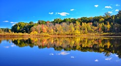 Autumn Reflection (mswan777) Tags: lake michigan fall autumn colors tree forest leaf still blue clouds sky cool nikon d5100 sigma 1020mm season