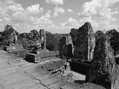 the view from the top (b&w) (SM Tham) Tags: asia cambodia angkor unescoworldheritagesite prerup khmer stone temple architecture building towers pedestals lions stonecarvings platform views trees sky clouds outdoors blackandwhite monochrome