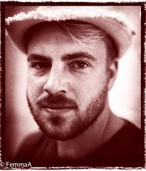 Handsome man (femmaryann) Tags: handsome man portrait rugged beard hat eyebrows weatherbeaten blonde hunk