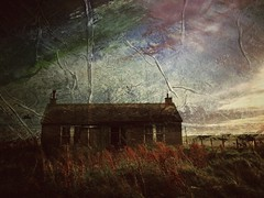Crismo  painted sky (ingrid_b21) Tags: twop derelict abandoned cottage orkney distressedfxapp layered painting derelictcottage derelictbuilding abandonedscotland