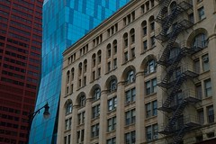 Facades (halifaxlight) Tags: unitedstates chicago city urban downtown architecture facades styles colours skyscrapers windows fireescapes streetlight illinois