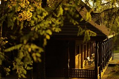 Empty drinking-house in Wysowa (Zyla, K. alone) Tags: beskyds autumn polska art wysowa afternoon pentaxart jesie beskidniski architecture poland thebp inexplore pentaxsmc