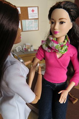 5. Not taking any chances (Foxy Belle) Tags: doll barbie diorama medical doctor job dollhouse office littlechap dr 16 vintage made move bambi pediatrician teresa asian style 2015 shot vaccine needle