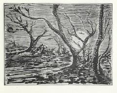 Night. (justinebainbridge) Tags: print printmaking metal plate wax shellac caustic trees night moon landscape black wood pathway halloween spooky haunted haunting fear dark alone