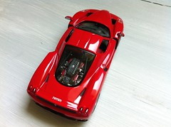 1/43 Ferrari enzo from high (Scuderia Phoenicia's Hobby and Die-cast models) Tags: red yellow grey model photoshoot ferrari collection enzo lamborghini lineup murcielago fabbri f50 143 minichamps fxx reventon hachette lp640 altaya 599xx
