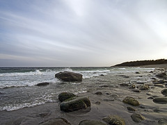 Spornes (Birgit F) Tags: sunset beach norway rock strand waves boulders skagerrak raet austagder tromy spornes