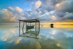 Be Calm (MunzerShamsul) Tags: ocean morning seascape reflection clouds sunrise landscape boat nikon calm filter malaysia fishingboat cloudformation eastcoast kelantan waterscapes tumpat leefilter tokina1116mm jubakar