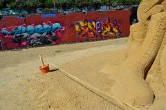 RESIN and TIPOR (Di's Free Range Fotos) Tags: uk england music graffiti sand brighton boots sweet eltonjohn resin 1970s trex glamrock davidbowie sandsculptures blackrock musicthemed tipor sandsculpturefestival2013 glamrocksculpture plarformboots