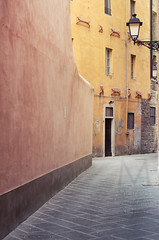 Traditional street in Pisa, Tuscany, Italy (Shade-of-Light) Tags: street pink house colour yellow vertical wall architecture outdoors photography italian alley paint streetlamp pavement pastel townhouse traditional nobody pisa hues tuscany local typical residential regional residentialarea pave tranquilscene urbanscene saturatedcolour intonaco pittoresco architecturalstyles traditionallyitalian mediterraneancountries residentialstructure typicallyitalian lovelocal locationsandtravel architecturalbackground intonacocolorato