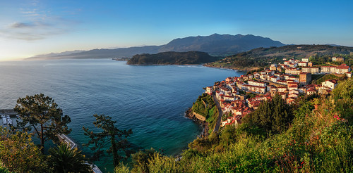 sunrise over the village of Lastres