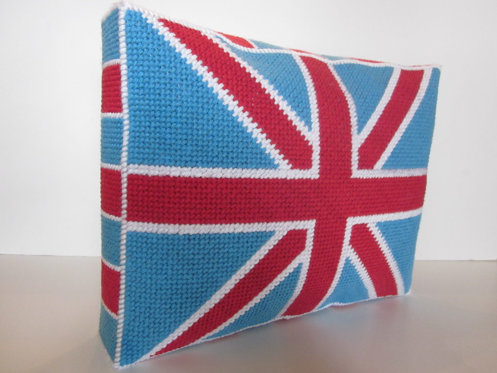 b350eb66593 Union Jack pillow using plastic needlepoint canvas (Jenny Henry Designs)  Tags