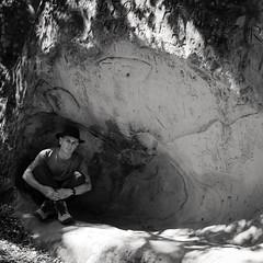 calligraffiti (Super G) Tags: california blackandwhite bw selfportrait hat rock stone self square danville rockcity scs cavepainting glyphs selfcenteredsunday
