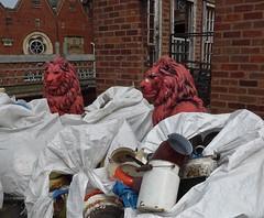 On Guard (Landie Les) Tags: salvage yard lesoakes junk lion statue red pots pans