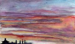 ciel paris 2 (Jluc22fr) Tags: paris aquarelle watercolor watercolour toits sunset