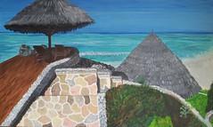 Sonnenterrasse mit Blick aufs Meer (manu1362) Tags: meer strand sonnenterrasse wasser südsee acryl acrylgemälde