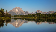 Morning  at the Oxbow (wyojones) Tags: wyoming grandtetonnationalpark moranjunction oxbow mtmoran tetons reflection mountains range snakeriver water turnoout trees shadows morning wyojones np
