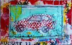 100 Miles (opal c) Tags: newcar red redcar honda hrv sketch acrylic ink journal journalpage wheels ride