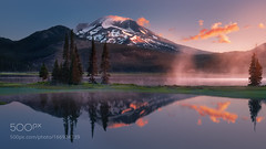 Sparks Lake (BostonHVAC167) Tags: mist sky fog reflections mountains reflection travel clouds tree usa skyline mountain cloud trip oregon
