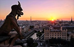 PARIS - OBSERVING THE CITY FOR CENTURIES (Punxsutawneyphil) Tags: europa europe france francia frankreich paris notredame cathedral kirche church iglesia chimre chimera statue kunst art arte architecture architektur religion christianity christian victorhugo seine river fluss eiffelturm eiffeltower skyline cityscape sunset sonnenuntergang capital hauptstadt