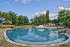 Stadionbad (A.B. Art) Tags: wien vienna abart austria pool schwimmbad reflection spiegelung bume trees wasser water himmel blauerhimmel sky bluesky