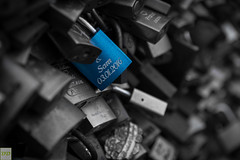 One of several million (Double.D - Photography) Tags: hohenzollernbrcke kln cologne macro schloss lock metall colorkey blue names doubled explore canon canon600d sigma 1750mm 28 explored kontrast contrast germany schrfe sharpness