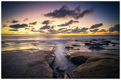 California Sunset (Roving Vagabond) Tags: sunset lajolla california ca beach reflection clouds socal seaside water outdoor landscape coast shore ocean sea sky dusk photo border rock sand serene coulds cloud west usa explore pacific