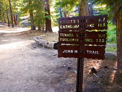 Trail signs to Merced Lake (Lost in Flickrama) Tags: yosemite nationalpark hiking backpacking adventure johnmuirtrail wilderness granite rocks pinetrees california
