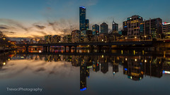 Rialto Reflection at dusk (trevorjphotography) Tags: reflection symmetry symmetrical blue hour bridge yarrariver calm melbourne victoria australia cbd rialto skyscrapers tallbuilding lights night southbank waterscape cityscape landscape widescreen wideanglelens canoneos5dmarkii ef1740mmf4lusm pretty scenic picturesque nice beautiful peaceful smooth water longexposure le ndfilter neutraldensityfilter fotga mirror stillwater