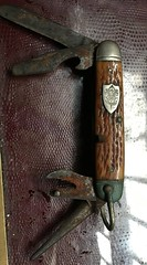 Vintage Boy Scouts knife with crest with Be Prepared on it (allanpar) Tags: vintageboyscout bonehandledknife pocketknife beprepared antiquepocketknife boyscouts boyscout