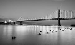 Bay Bridge, San Francisco (BadalChhatbar) Tags: bayarea baybridge ca california landscape seascape water blackandwhite blackwhite sanfrancisco night nightphotography nightscape sonya6000 sony rokinon12mm lights bridge architecture outdoor
