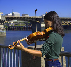 A Beautiful Sound (swong95765) Tags: nice violin music musical girl female river melody bow strings