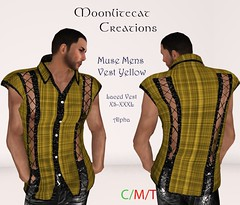Muse Mens Vest Yellow Ad Pic (moonlitecat) Tags: hunt your inner slut moonlitecat creation mesh slink belleze maitreya fimesh rigged high heel collar gacha spikes leather punk skirt haltertop halter top laced vest mens men women womens moon moonlite hudded texture change