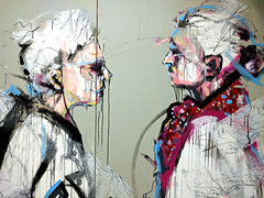 chance meeting (Ian Muttoo) Tags: img20161013185246edit toronto ontario canada gimp unionstation beinghumaninthesystem mural carlosdelgado art artist painting