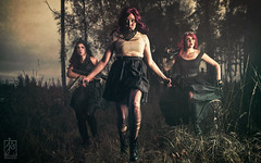 Band of sisters (Juhamatti Vahdersalo) Tags: gun woman act cinematic dress fineart forest light pretty guns army war