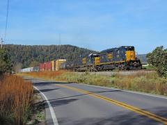 CSX 4234 and 8610 (1) (Trains & Trails) Tags: csx train railroad q39410 somersetcounty pennsylvania engine locomotive diesel transportation emd sd403 4234 standardcab october darkfuture yn3 harnedsville