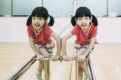 Twins ( aikawake) Tags: twins cute girls children mirror reflection       love smile red littlegirl littlechild beautiful beauty charming chinesepeople childhood daughter enjoy fun funny