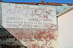 Lou Silveralat's American Has The Best Buys (Brad Harding Photography) Tags: stjoseph missouri signs sign vintage old yesteryear advertising ghostsign ghost lousilveralats jewellry guns loans friendlyservice freeparking