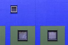 Three windows in a blue and green wall (on Explore) (Jan van der Wolf) Tags: map161155vv wall muur windows ramen blue blauw green groen architecture architectuur modernarchitecture geometric geometry gebouw building huis bricks bakstenen verf paint line zoetermeer