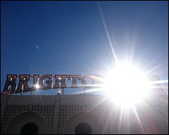 Brighton Pier in the sun (Wagsy Wheeler) Tags: brighton brightonmarinepalaceandpier pier palacepier sun sunshine sign sussex westsussex seaside landmark brightonpier