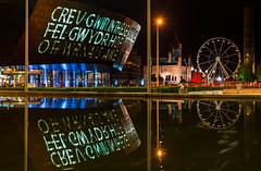 Wales Millennium Centre (technodean2000) Tags: south wales uk millennium centre cardiff bay lights red nikon d610 lightroom night text hall amusement park outdoor reflection