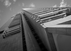 Skyscraper (NJHaupt) Tags: australia sydney skyscraper bw bandw pattern converginglines vanishingpoint city