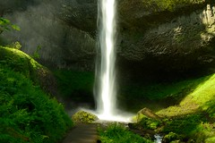 Sun-Dappled Latourell Falls  [Explored] (SandyK29) Tags: sunlight green nature water beauty oregon river waterfall moss rocks columbia falls explore gorge lush sunlit columbiarivergorge corbett latourellfalls shutterpriority latourell explored nikond800