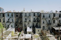(Pheral Lamb) Tags: nyc film brooklyn parkslope clocktower backyards brownstones fireescapes townhouses nikonf4 williamsburghsavingsbank 28mmf28lens rearwalls