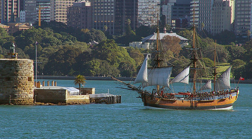 Replica of HMB Endeavour at Fort Denison