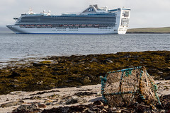 Caribbean Princess (MBDGE >1.6 Million Views) Tags: cruise sea cliff white seascape motion seaweed clouds port landscape boats scotland boat orkney marine scenery rocks waves ship princess aircraft shoreline wave carribean vessel cliffs reef nets kirkwall tangles hatston