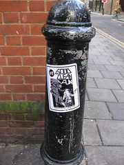 Good clean fun (Niecieden) Tags: november black london pasteup graffiti sticker 2009 spitalfields towerhamlets canondigitalixus90is