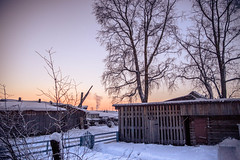 courtyard, sunrise (Olga Kruglova) Tags: winter house snow sunrise wooden village russia traditional north courtyard taiga sura arkhangelsk  2013